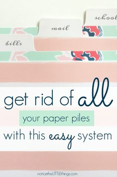 as a busy mom, this method to get your paper piles off your counters actually works. use this easy filing system to finally organize all your paper piles and paper clutter for good. Do It Yourself Organization, Organizing Paperwork, Clutter Organization, Kids Room Organization, Organizing Life, Organizing Ideas, Receipt Organization, Decluttering Ideas, Organisation Ideas