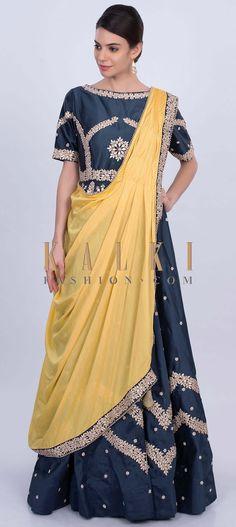 4102c0c23eb We ship worldwide (Free Shipping over US 100) Click Anywhere to Tag Indigo  blue taffeta silk anarkali dress with yellow prestitched dupatta only on  Kalki