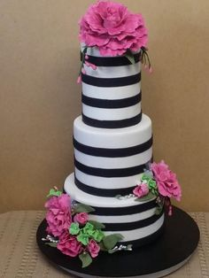 Fuschia Peonies and black stripes - Cake by Sue's Sweet Delights