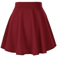 Women's Basic Solid Versatile Stretchy Flared Casual Mini Skater Skirt (£6.07) ❤ liked on Polyvore featuring skirts, mini skirts, skater skirt, mini circle skirt, flared mini skirt, red circle skirt, red flared skirt and mini skirt