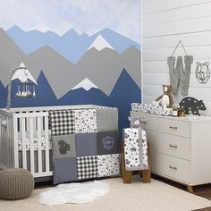 Bring the beauty of the outdoors to your baby's nursery with the NoJo Mountain Patchwork Crib Bedding Set. The cute and fashion-forward bedding features playful patterns with snow capped mountains, bears, and squirrels. Crib Sets, Crib Bedding Sets, Baby Bedding, Baby Boy Rooms, Baby Boy Nurseries, Baby Bedroom, Baby Cribs, Bedroom Sets, Kids Rooms