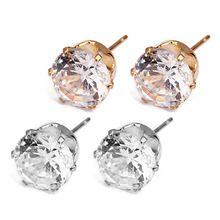 18K Gold Filled Earrings With Three Round Clear Oval CZ Cubic Zirconia Stones For Wholesale Jewelry Supplies /& Earring Findings