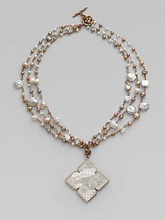 Stephen Dweck Three Strand Pearl & Mother-Of-Pearl Pendant Necklace