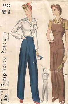 """Vintage 1940's Sewing Pattern Land Girl Slacks Blouse & Overalls WWII B 30"""" #Simplicity same pair of overalls as the new simp pattern for them"""