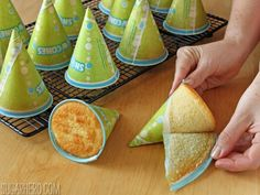 Birthday Party Hat Cakes. These fun, colorful cone-shape cakes are perfect for celebrating any birthday or special occasion!