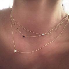 14k Gold .07 carat Solitaire Diamond Necklace by cestsla on Etsy