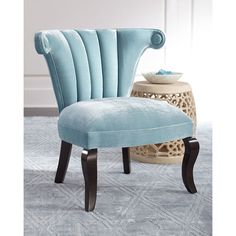 Haute House Kylie Channel-Tufted Chair ($1,999) ❤ liked on Polyvore featuring home, furniture, chairs, sky blue, handcrafted furniture, hand made furniture, haute house, handmade furniture and haute house furniture