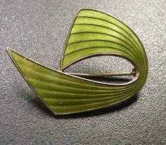 NORWAY AKSEL HOLMSEN SILVER ENAMEL OLIVE GREEN MODERNIST PIN BROOCH 925S NORGE | eBay