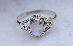 Rainbow MoonStone Ring silver ring  stone ring silver di avicraft