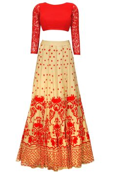 Beige and red thread embroidered lehenga set available only at Pernia's Pop-Up Shop.