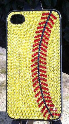 Softball Rhinestone iPhone Case on Wanelo 7cebc1e8f