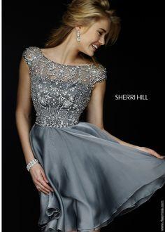 Sherri Hill 32320 Nude Cap Sleeve Beaded Cocktail Dress #RissyRoosHomecoming