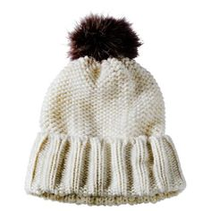 Cold Weather Hat with Fur Pom - White $14.99