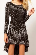 Black Long Sleeve Animal Pattern High-Low Dress $30.97