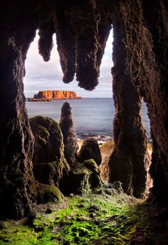 This cave overlooks sheep island at Larrybane on the Antrim coast of Northern Ireland Cave with a view by Stephen Emerson
