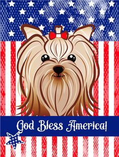 God Bless American Flag with Yorkie Yorkshire Terrier Flag Garden Size BB2134GF