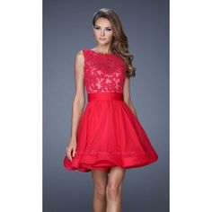La Femme 20429 As Seen In Mini High Neckline Sleeveless ($398) ❤ liked on Polyvore featuring dresses, formal dresses, hot fuchsia, lace formal dresses, homecoming dresses, short red dress, short formal dresses and short homecoming dresses