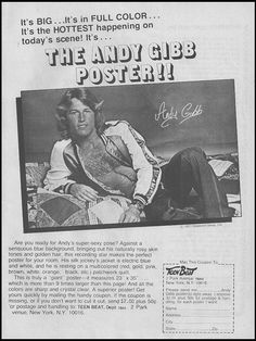 Teen Beat magazine's Andy Gibb Poster offer, 1977