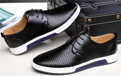 Men Casual Shoes Leather Summer Breathable Holes Luxury Brand Flat Sho – myshoponline.com