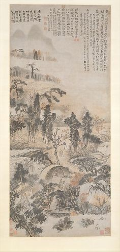 "Shitao (Zhu Ruoji) (Chinese, 1642–1707). Qiulin renzui: Drunk in Autumn Woods, ca. 1702. The Metropolitan Museum of Art, New York. Gift of John M. Crawford Jr., 1987 (1987.202) |This work is featured in our ""The Art of the Chinese Album"" exhibition, on view through March 29, 2015 AsianArt100"