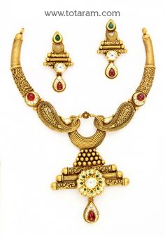 Gold Antique Necklace & Drop Earrings Set with Stones: Totaram Jewelers: Buy Indian Gold jewelry & Diamond jewelry Wedding Jewellery Designs, Antique Jewellery Designs, Wedding Jewelry, Antique Jewelry, Gold Jewelry, Jewelry Design, Antique Necklace, Antique Gold, Diamond Jewelry