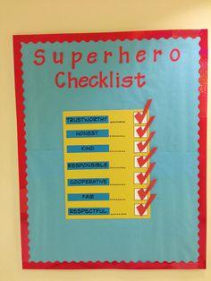 Superhero themed bulletin board