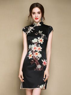 Short Black Floral Qipao / Cheongsam Party Dress