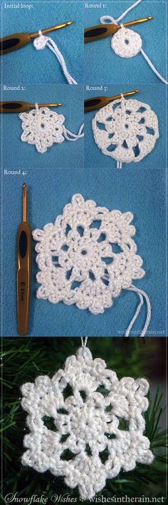 step by step free crochet snowflake instructions - www.wishesintherain.net