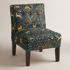 Multicolor Print Randen Upholstered Chair with Wood Legs - v1