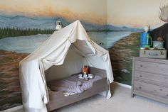 I recently posted some pictures of my son& camping, and as promised I wanted to give you a tutorial on how to make the tent bed. Camping Bedroom, Tent Camping Beds, Bed Tent, Go Camping, Camping Hacks, Family Tent, Diy Canopy, Diy Bed, Awesome Bedrooms