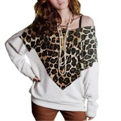 Allegra K Women Leopard Print Front Scoop Neck Bat Wing Sleeve Shirt White S dropped armyce