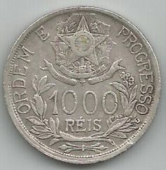 LINDA MOEDA DO BRASIL 1000 REIS 1912 DE PRATA 900 COM 10 GRAMAS ESTRELAS LIGADAS P-702