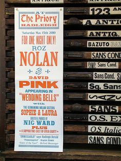all done by hand typeset. with wooden and metal type. amazing.