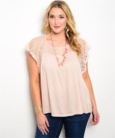 Pretty Blush Top With Lace Detail. Soft Flowy Top with Flutter Short Sleeves. Plus Sizes