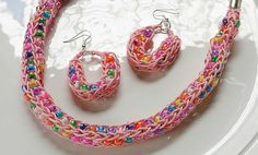 Crafts n' things Weekly - knit necklace & earrings Rope Necklace, Knitted Necklace, Crochet Earrings, Spool Knitting, Knitting Patterns, Knit Crochet, Crochet Gifts, Wire Jewelry, Jewelry Making