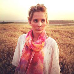 Colorfull OOAK scarf  Handpainted scarf  Pink scarf made by BJUSTU via Etsy.