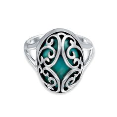 Bling Jewelry Sterling Silver Scroll Domed Oval Turquoise Gemstone Ring