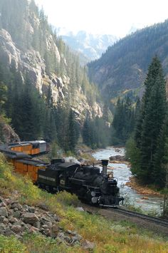 The towns of Silverton and Durango, Colorado. This is the Silverton and Durango Narrow Gauge Railroad. An all day train ride through the San Juan National forest from Durango to Silverton on an old steam train from the 1800's is 50 miles one way, but well worth it for the magnificant views!