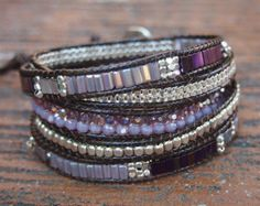 5 times Wrap Bracelet Black Crystal beaded mix Boho by G2Fdesign