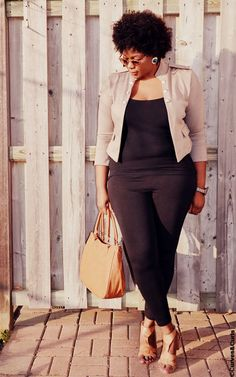 Plus Size Fabness:  Jacket: Urban Behavior  Legging: F21  Shoes: Spring Shoes   Sunnies: Old Navy  Earrings: Thrifted  Bag: Aldo