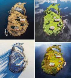 Finský ostrov Kotisaari, který fotograf Jani Ylinampa Photography zachytil ve čtyřech ročních obdobích (ve směru hodinových ručiček zleva nahoře: jaro, léto, podzim, zima).