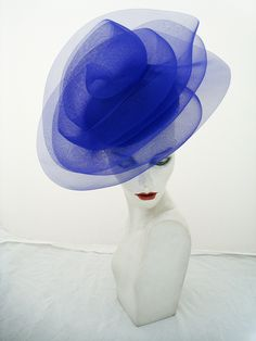 Royal blue sculptural crin John Boyd hat, perfect for Ascot. Dye to match service available for all bespoke orders. www.johnboydhats.co.uk