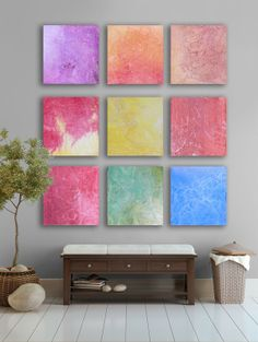 Huge Abstract art 9 square CUSTOM Abstract Wall by TwistOfUnique,