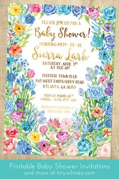 Perfect for a summer garden tea party! Flower baby shower invitations.
