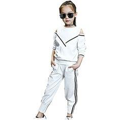 Pants FTSUCQ Kids Zip Front Striped Sports Tracksuits Sweatsuits Jacket