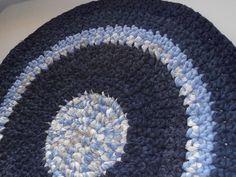 Blue Crocheted Rag Rug