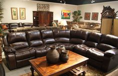 A sleek brown leather sectional for the perfect living room #living #furniture #designs #decor explore freeds.net