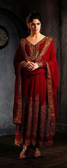 USD 86.25 Crimson Resham Work Georgette Long Anarkali Suit  34044