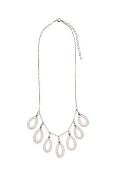 Delicate silver chain necklace with hanging mesh detail.   Silver Mesh Necklace by k2 international. Accessories - Jewelry - Necklaces New York City