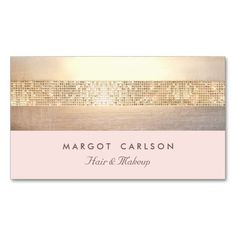 Elegant Gold Sequins Light Pink Striped *NO SHINE Business Card Template. This great business card design is available for customization. All text style, colors, sizes can be modified to fit your needs. Just click the image to learn more!